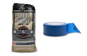 #0000 steel wool and blue painnters tape.